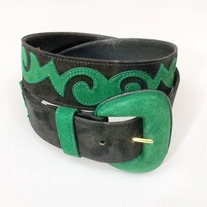 Escada   Vintage Suede Black & Green Belt